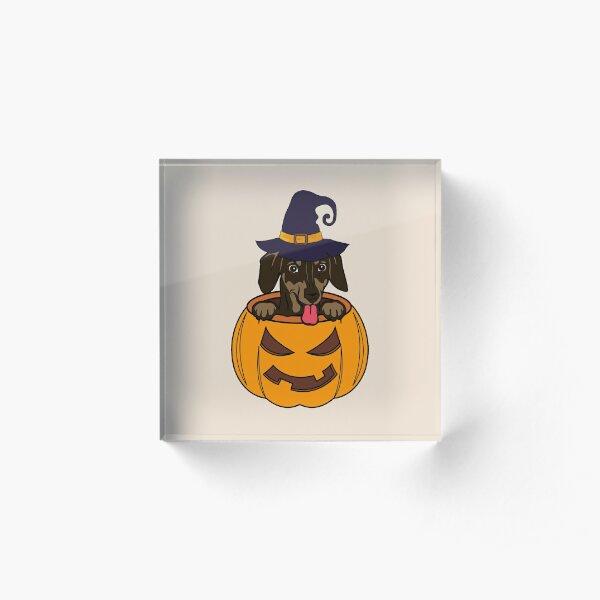 Cute Dachshund Halloween Design Acrylic Block