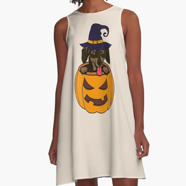 Cute Dachshund Halloween Design A-Line Dress