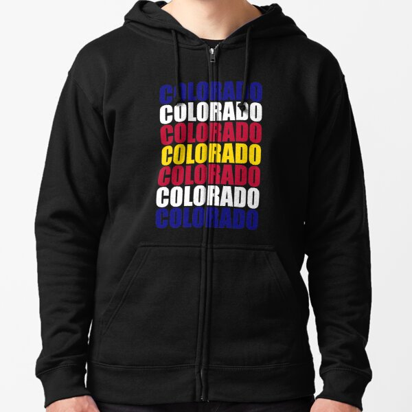 Colorado Text Flag Solid Colors Zipped Hoodie