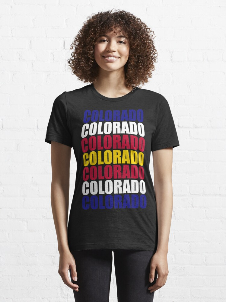 Alternate view of Colorado Text Flag Solid Colors Essential T-Shirt