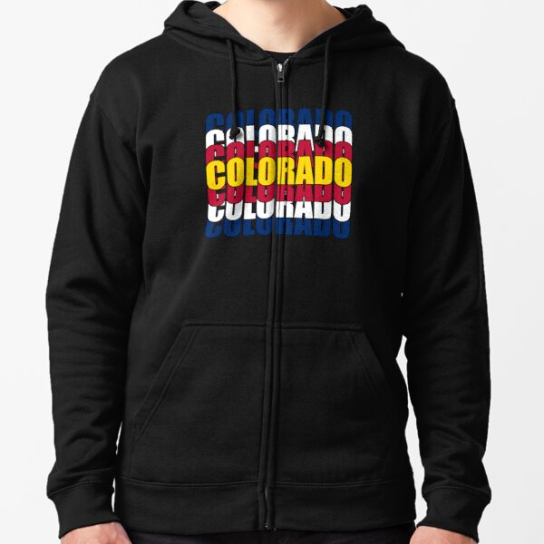 Colorado State Flag Typography Zipped Hoodie