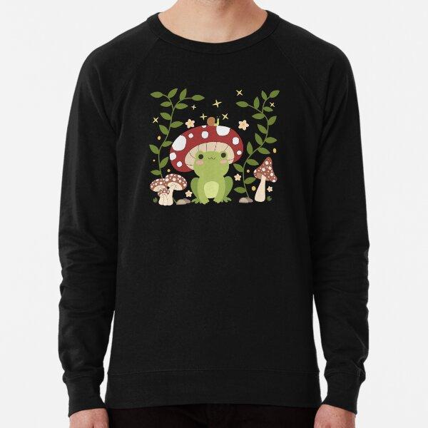 Kawaii Frog Mushroom Hat Cottagecore Aesthetic Lightweight Sweatshirt