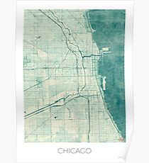 Chicago Map Blue Vintage Poster