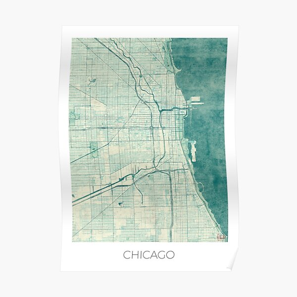 Chicago Map Blue Vintage Poster