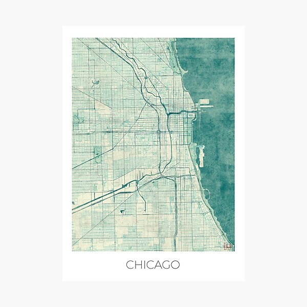 Chicago Map Blue Vintage Photographic Print