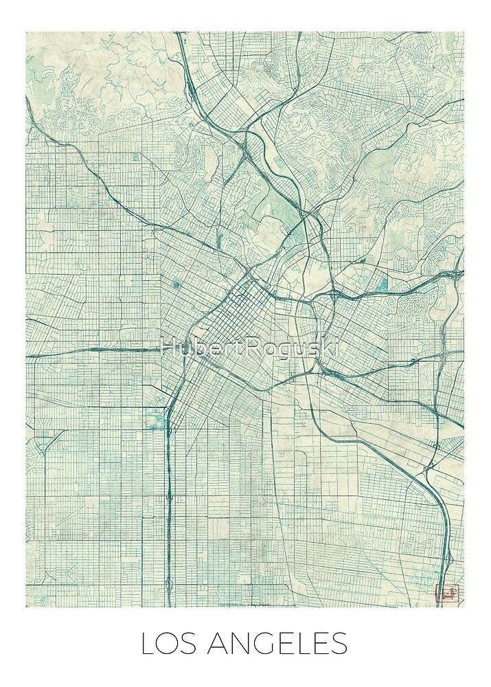 Los Angeles Map Blue Vintage by HubertRoguski