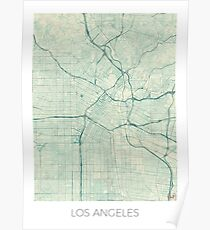 Los Angeles Map Blue Vintage Poster