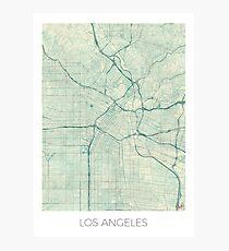 Los Angeles Map Blue Vintage Photographic Print