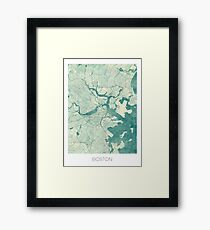 Boston Map Blue Vintage Framed Print