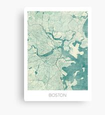 Boston Map Blue Vintage Metal Print