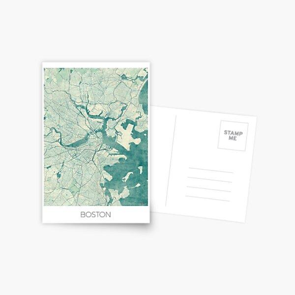 Boston Map Blue Vintage Postcard