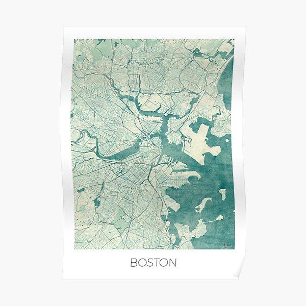 Boston Map Blue Vintage Poster