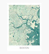 Boston Map Blue Vintage Photographic Print