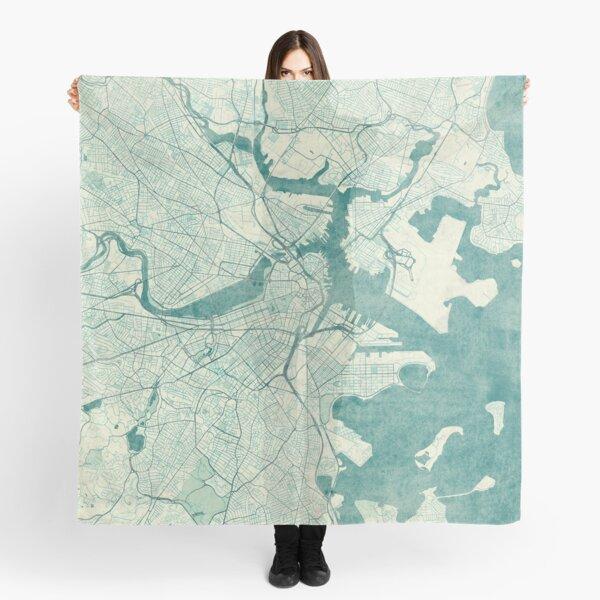 Boston Map Blue Vintage Scarf