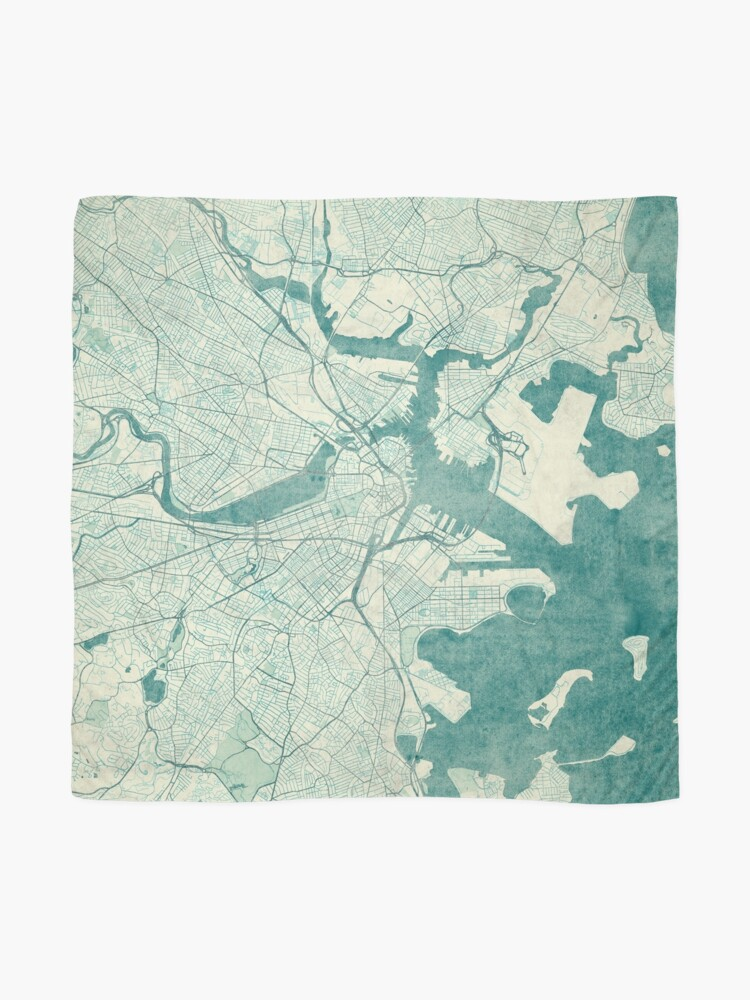 Alternate view of Boston Map Blue Vintage Scarf