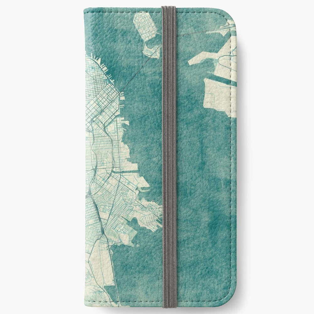 San Francisco Karte blau Vintage iPhone Flip-Case