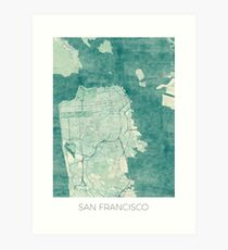 San Francisco Map Blue Vintage Art Print