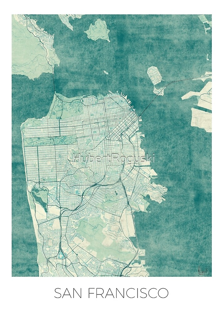 San Francisco Map Blue Vintage by HubertRoguski