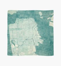 San Francisco Map Blue Vintage Scarf