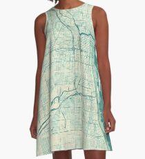 Chicago Map Blue Vintage A-Line Dress