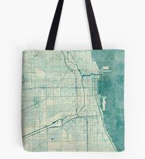Chicago Map Blue Vintage Tote Bag