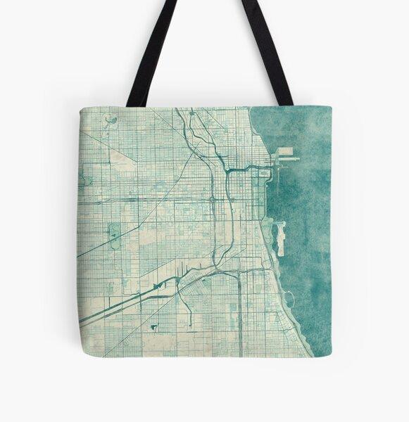 Chicago Map Blue Vintage All Over Print Tote Bag