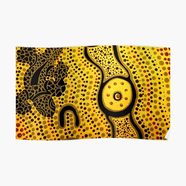 Australian aboriginal art dot painting for kids Poster