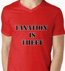 Taxation is Theft 01 (Prison style) Men's V-Neck T-Shirt