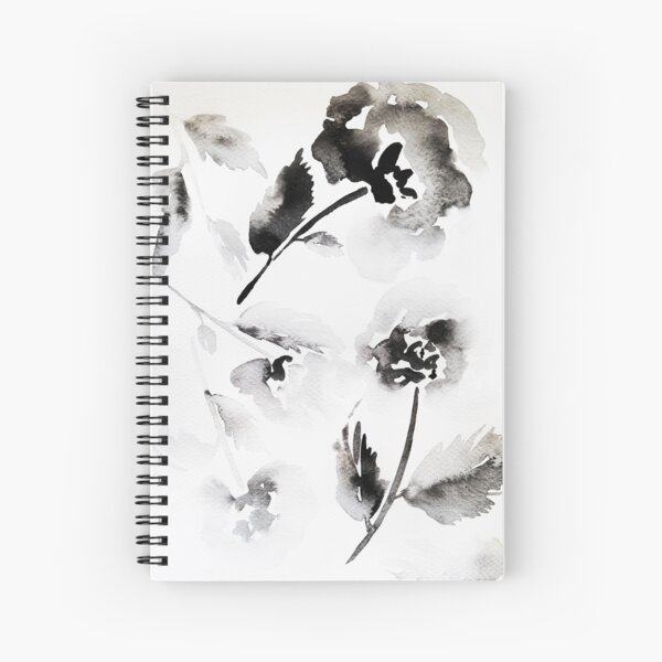 Floral pattern in black and white watercolor Spiral Notebook