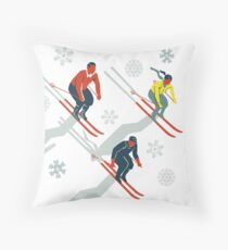 Mid Century Retro Ski Trails in Red, Teal and Yellow Throw Pillow