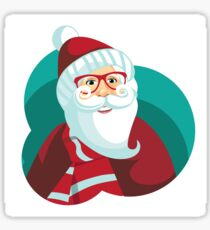 Hipster Santa Claus Cartoon Sticker
