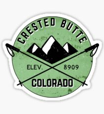 CRESTED BUTTE COLORADO Ski Skiing Mountain Mountains Skiing Crossed Skis Snowboard Snowboarding 3 Sticker