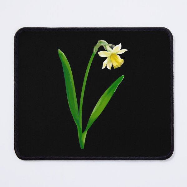 Yellow Daffodil on Black Mouse Pad