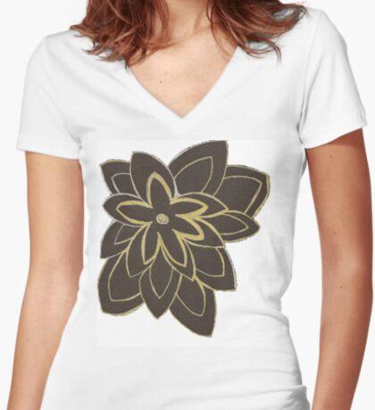 Styled Flower Women's Fitted V-Neck T-Shirt