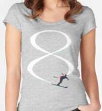 Mid Century Figure 8 Skiers in Retro Style on Teal Women's Fitted Scoop T-Shirt