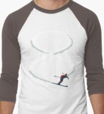 Mid Century Figure 8 Skiers in Retro Style on Teal T-Shirt