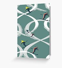 Mid Century Figure 8 Skiers in Retro Style on Teal Greeting Card
