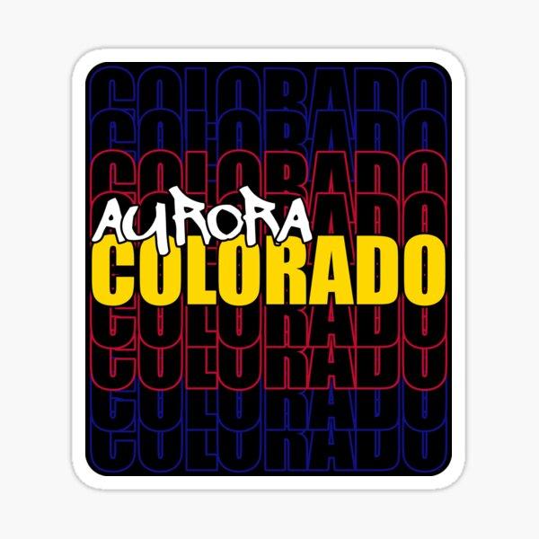 Aurora Colorado State Flag Typography Sticker