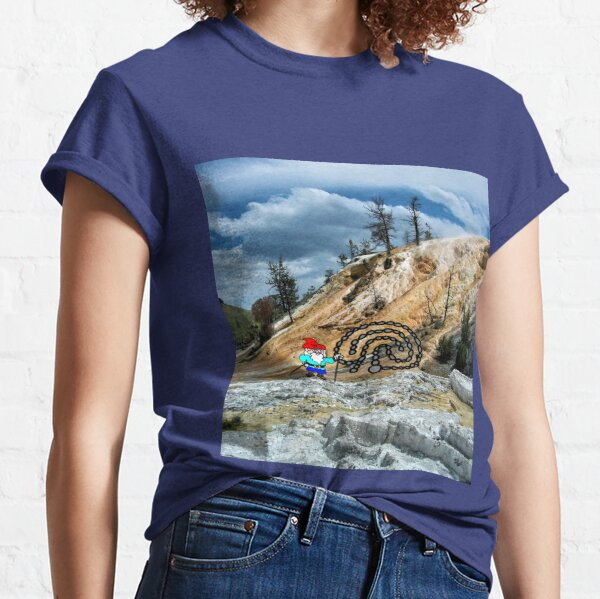Will the Wandering Gnome Explores Yellowstone – Part 1 (Gnome Art) (Eco Art) Classic T-Shirt