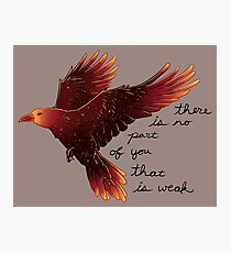 """There is No Part of You That is Weak"" Galaxy Raven Photographic Print"