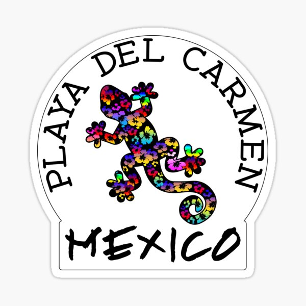 PLAYA DEL CARMEN MEXICO LIZARD GECKO TROPICAL HIBISCUS FLOWER COLORFUL RAINBOW TROPICAL BEACH Sticker