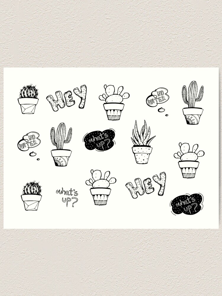 Alternate view of Funky Cactus Pattern Art Print