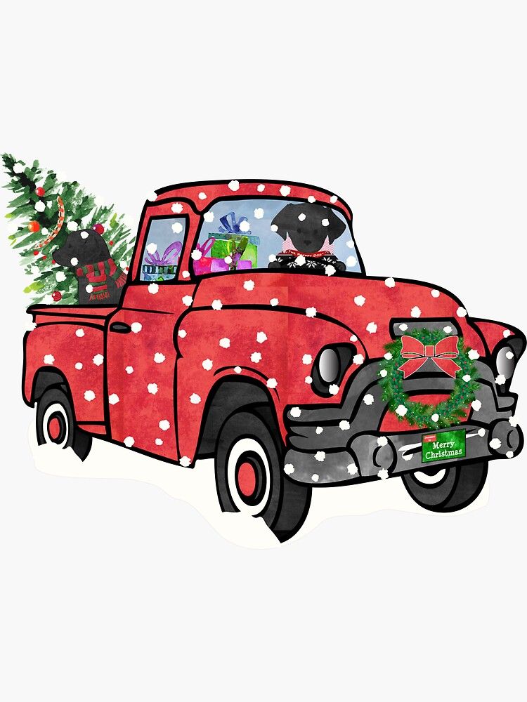 Black Labs Christmas Red Truck by emrdesigns
