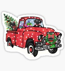 Black Labs Christmas Red Truck Sticker