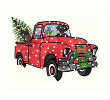 Quot Black Labs Christmas Red Truck Quot Stickers By Emrdesigns