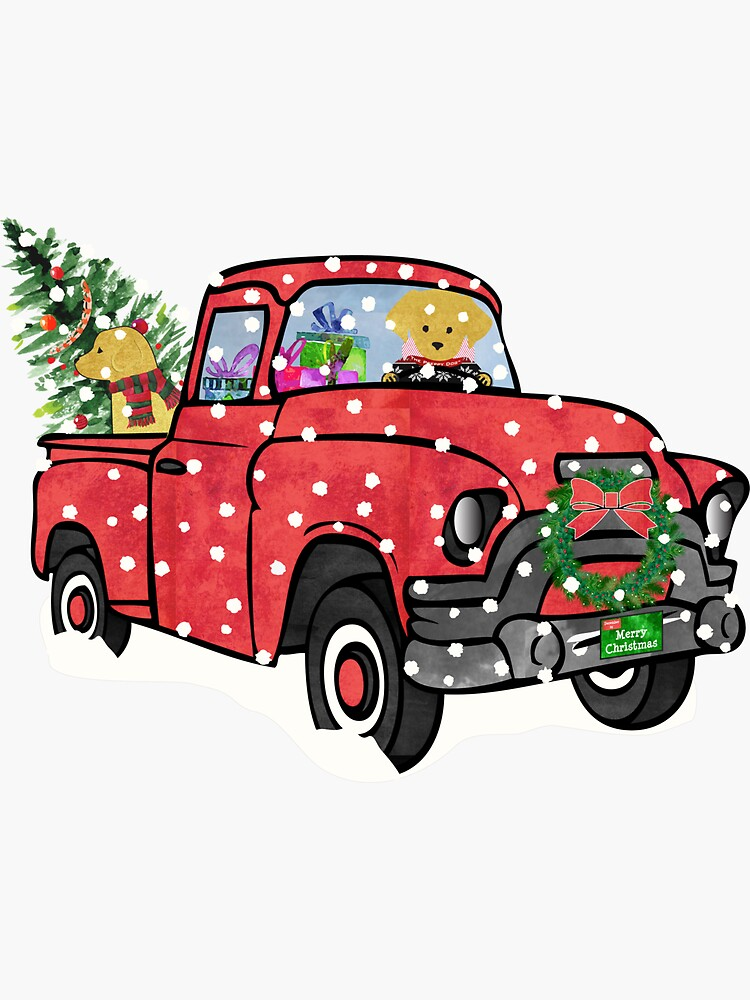 Yellow Labs Christmas Red Truck by emrdesigns