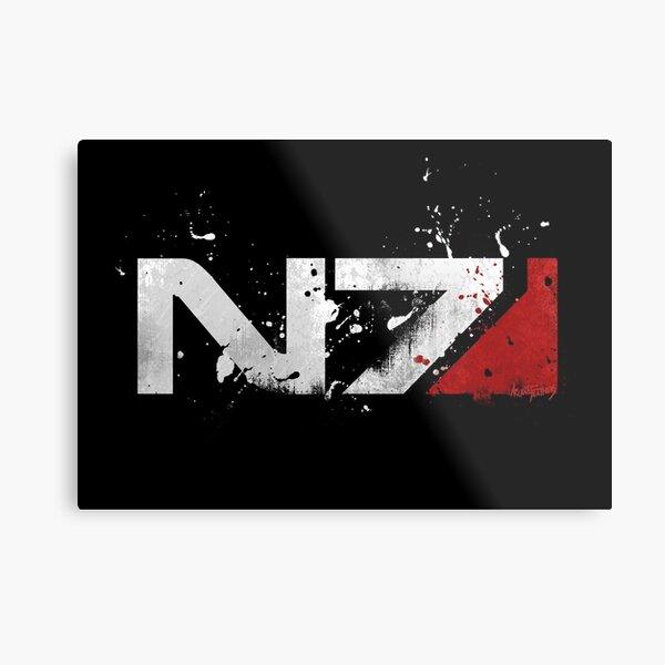 Mass Effect Distressed N7 Metal Print