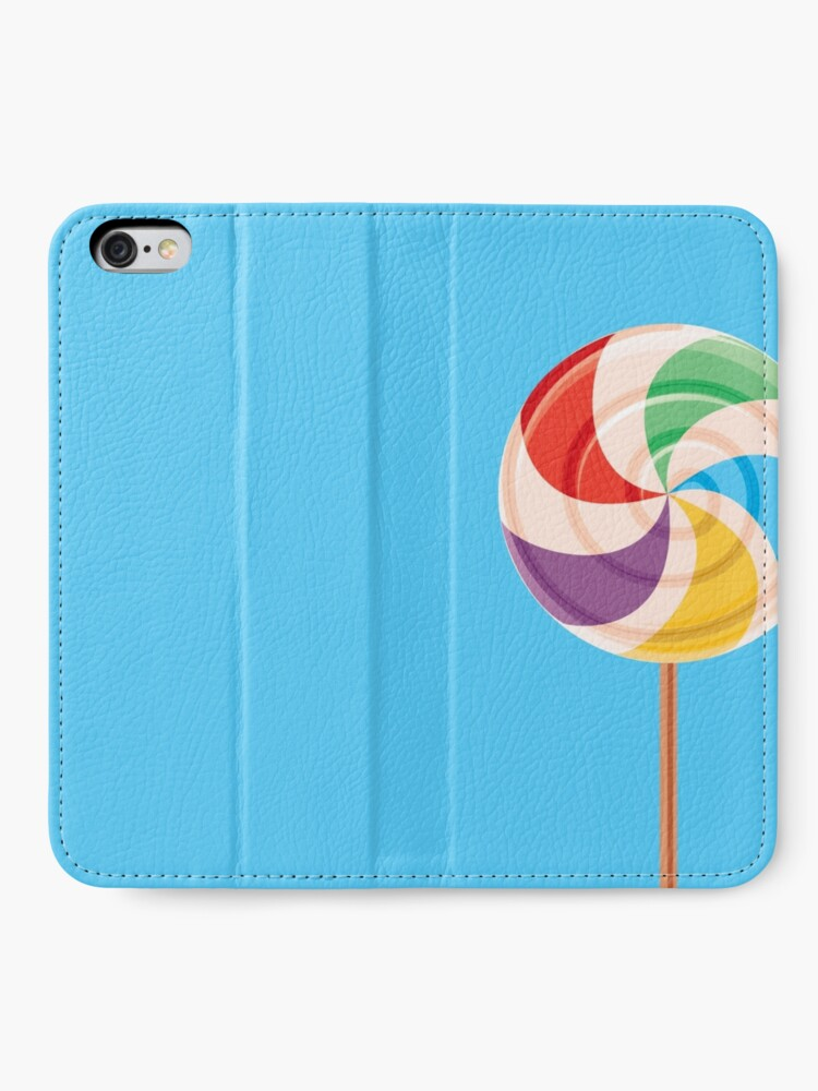 Alternate view of Colorful Lollypop on Blue iPhone Wallet