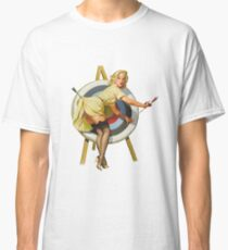 Pin Up Girl Archery Vintage Dictionary Art Classic T-Shirt