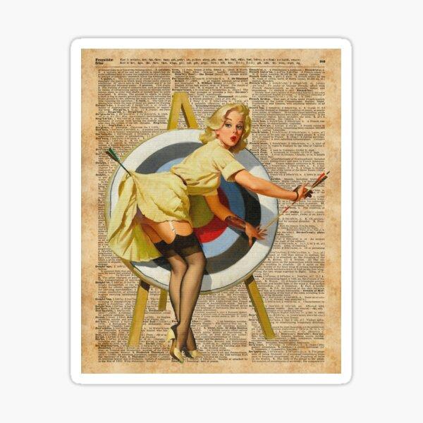Pin Up Girl Archery Vintage Dictionary Art Sticker